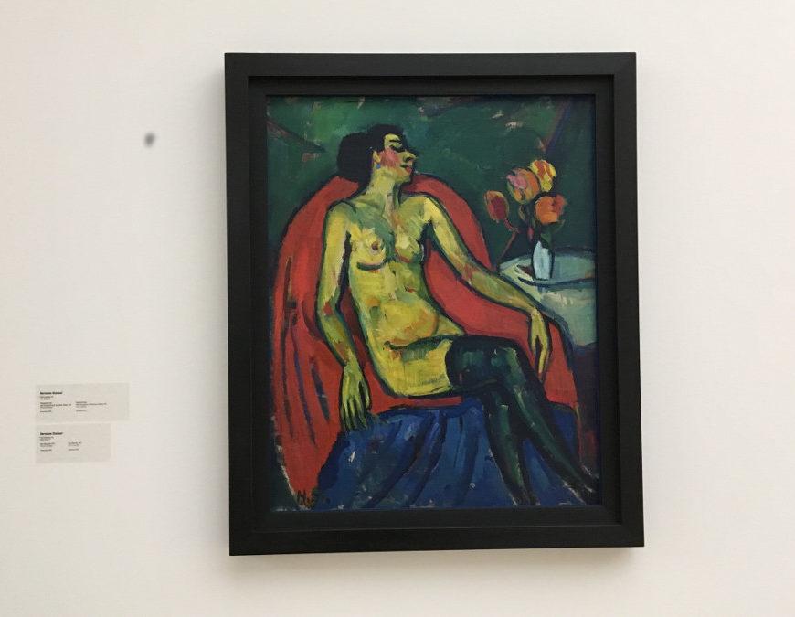 Ma(h)lzeit en el Kunstmuseum de Stuttgart. Sitzender Akt mit Rosenstrauß auf dem Tisch